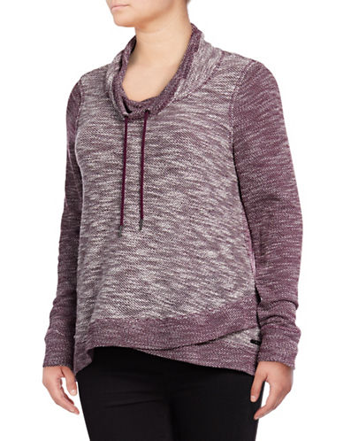 Calvin Klein Performance Plus Crossover Cowl Neck Pullover-PURPLE-2X