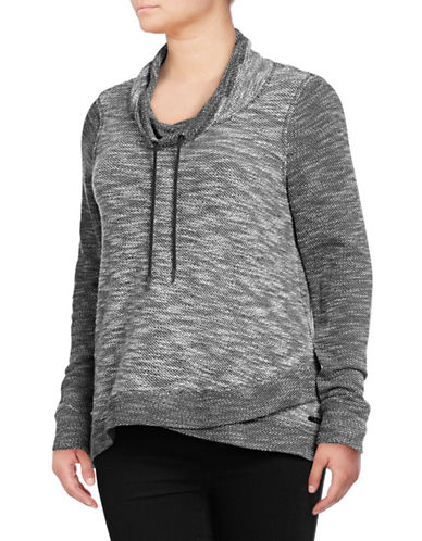 Calvin Klein Performance Plus Crossover Cowl Neck Pullover-GREY-1X