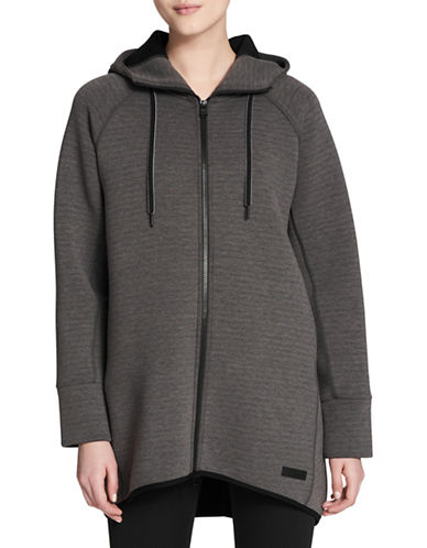 Calvin Klein Performance Hooded Long Knit Jacket-GREY-Large 89630382_GREY_Large
