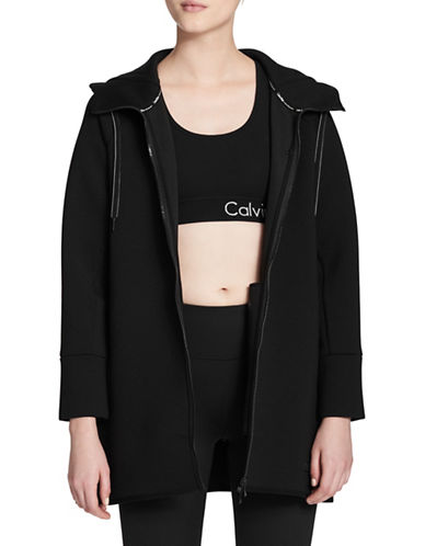 Calvin Klein Performance Hooded Long Knit Jacket-BLACK-Large 89630378_BLACK_Large
