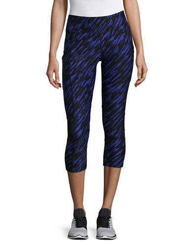 Calvin Klein Performance Print Blocked Capri Leggings-BLUE-Large
