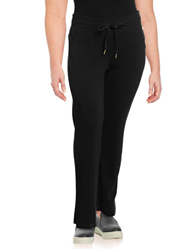Calvin Klein Performance Plus Ribbed Waistband Thermal Pants-BLACK-2X 89603331_BLACK_2X