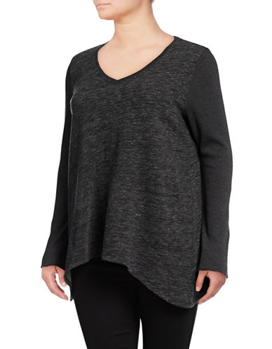 Calvin Klein Performance Plus Shadow Curved Hem Pullover-BLACK-3X 89603322_BLACK_3X