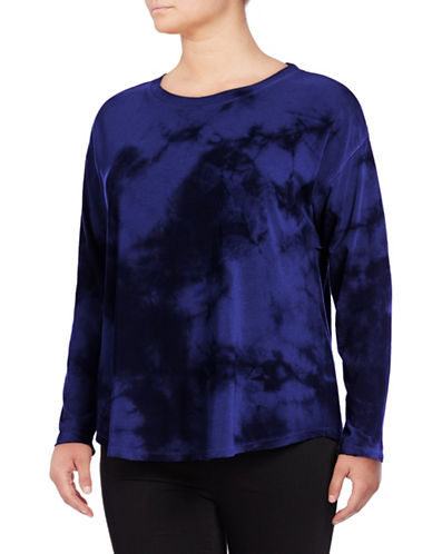 Calvin Klein Performance Plus Tie-Dye Drop-Shoulder Top-BLUE-2X