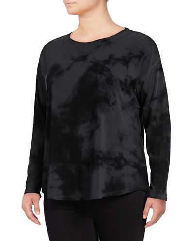 Calvin Klein Performance Plus Tie-Dye Drop-Shoulder Top-GREY-1X 89417174_GREY_1X