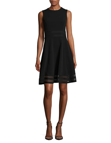 Calvin Klein Mesh Panel Fit-and-Flare Dress-BLACK-12