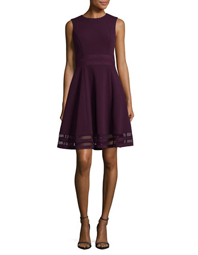 Calvin Klein Mesh Panel Fit-and-Flare Dress-AUBERGINE-2