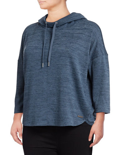 Calvin Klein Performance Plus Cowl Neck Hoodie-BLUE-2X