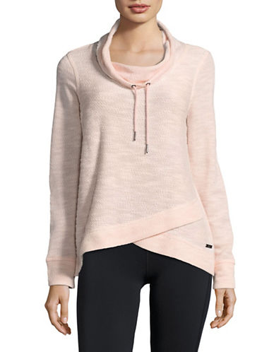 Calvin Klein Performance Marled Cowl Neck Pullover with Foldover Hem-DANCER COMBO PINK-Small