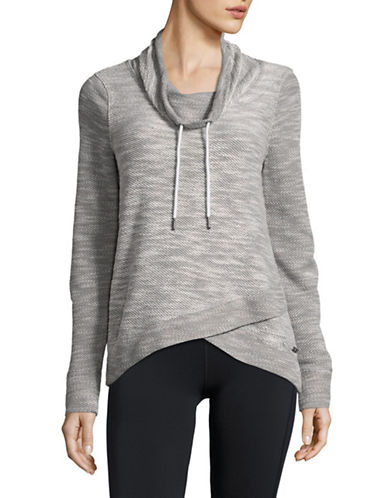 Calvin Klein Performance Marled Cowl Neck Pullover with Foldover Hem-GREY COMBO-Small 89402109_GREY COMBO_Small