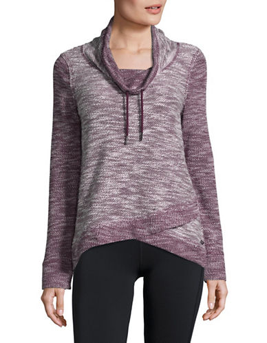 Calvin Klein Performance Marled Cowl Neck Pullover with Foldover Hem-MERLOT COMBO-Small