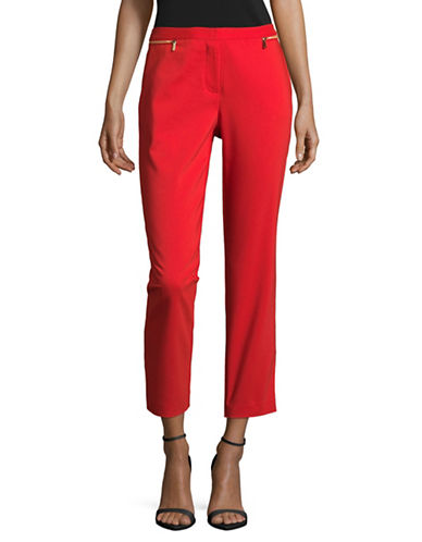 Calvin Klein Solid Ankle Pants-RED-8