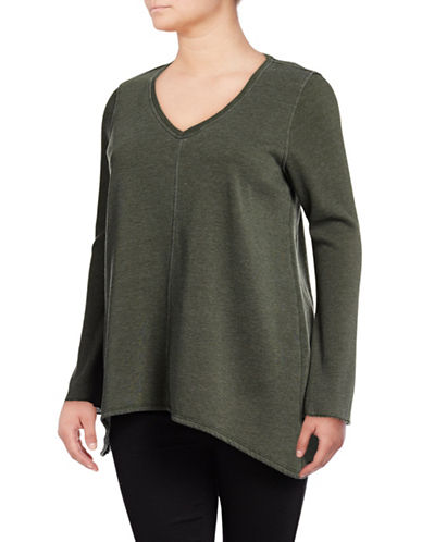 Calvin Klein Performance Plus Bell Sleeve Curved Hem Top-GREEN-2X 89603298_GREEN_2X