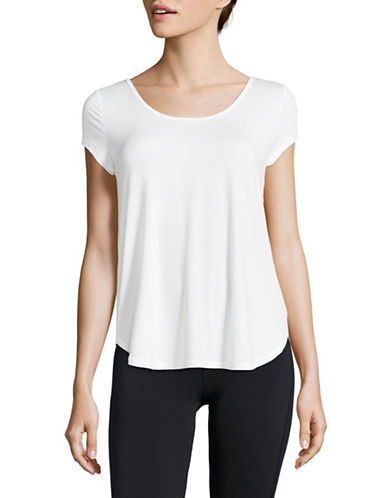 Calvin Klein Performance Strappy-Back Wicking Mesh Tee-NATURAL-Large