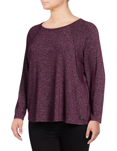 Calvin Klein Performance Plus Marled Batwing Top-RED-3X
