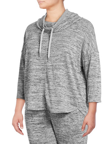 Calvin Klein Performance Plus Cowl Neck Hoodie-GREY-1X 89417159_GREY_1X
