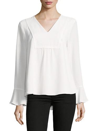 Calvin Klein Statement Sleeve V-Neck Top-WHITE-Medium