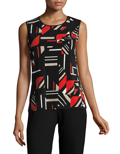 Calvin Klein Sleeveless Printed Top with Pocket-BLACK MULTI-Medium