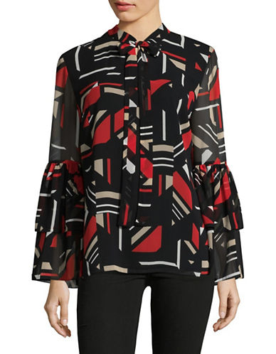 Calvin Klein Printed Tie-Neck Top-BLACK MULTI-X-Small