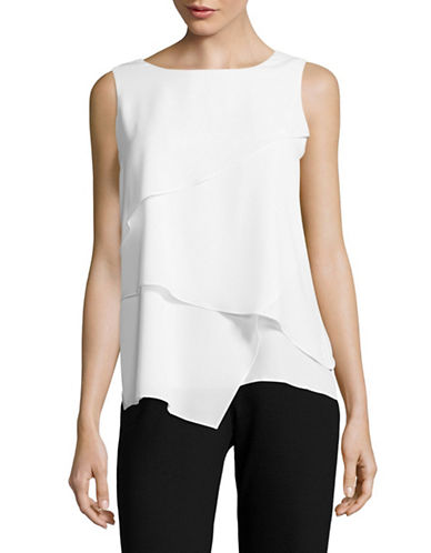 Calvin Klein Sharkbite Asymmetrical Top-WHITE-Large