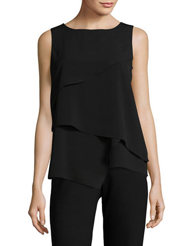 Calvin Klein Sharkbite Asymmetrical Top-BLACK-Medium