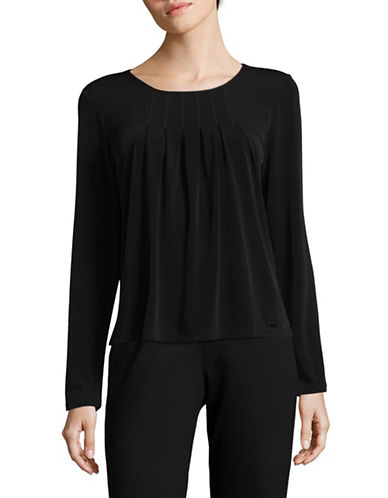 Calvin Klein Double-Layer Textured Top-BLACK-Large