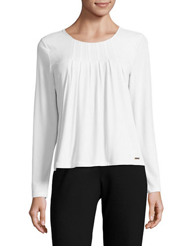 Calvin Klein Double-Layer Textured Top-WHITE-Medium