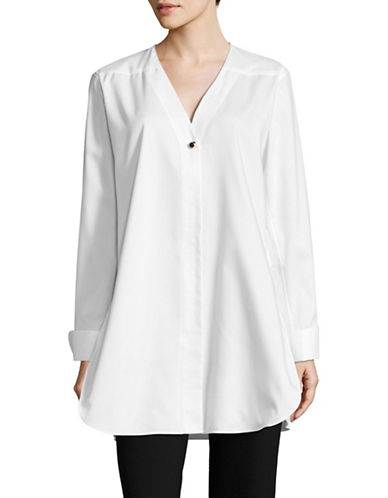 Calvin Klein V-Neck Tunic Blouse-WHITE-X-Small