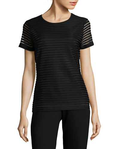 Calvin Klein Short Sleeve Illusion Stripe Top-BLACK-X-Small 89359579_BLACK_X-Small
