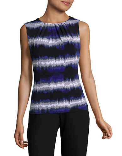 Calvin Klein Printed Pleat Neck Tank Top-BYZANTINE-Small