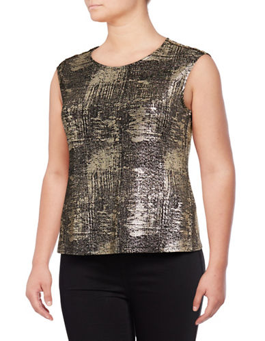 Calvin Klein Plus Metallic Print Sleeveless Top-BLACK-3X