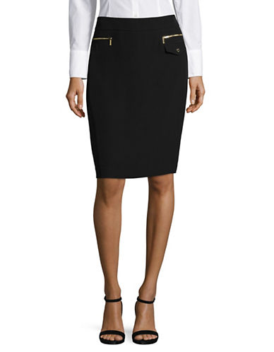Calvin Klein Zip Detail Pencil Skirt-BLACK-6