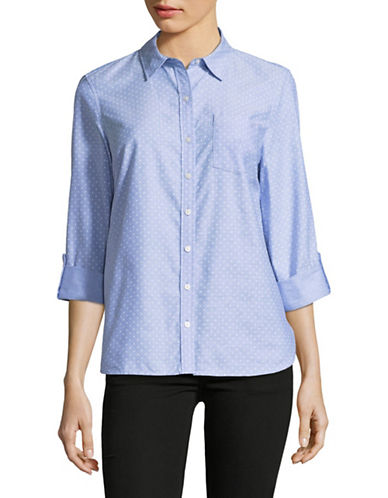 Tommy Hilfiger Dotted Roll-Tab Shirt-BLUE-Large
