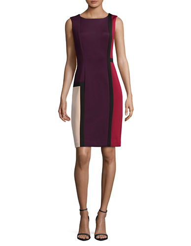 Calvin Klein Colourblock Sheath Dress-PURPLE MULTI-12