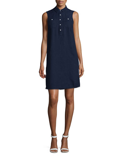 Tommy Hilfiger Sleeveless Denim Shirt Dress-BLUE-10