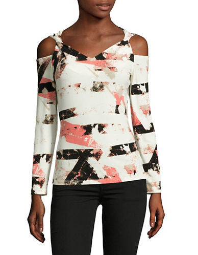Calvin Klein Printed Cold Shoulder Top-PORCELAIN MULTI-X-Large 89230009_PORCELAIN MULTI_X-Large