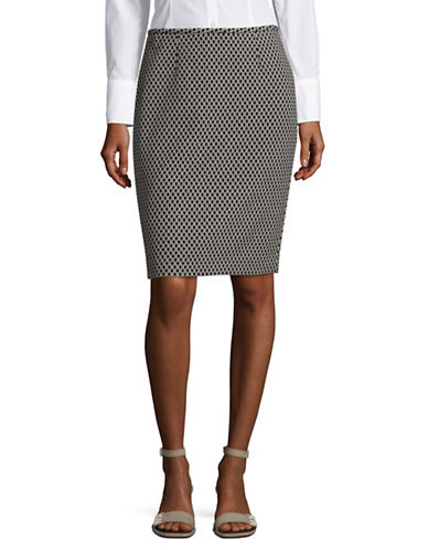 Calvin Klein Printed Pencil Skirt-BLACK/KHAKI-8