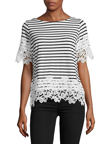 Tommy Hilfiger Lace Trim Striped T-Shirt-IVORY/BLACK-Small