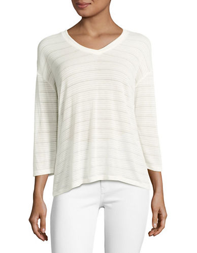Tommy Hilfiger Sheer Striped Top-IVORY-Large