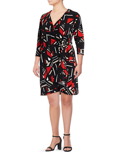 Calvin Klein Plus Floral Wrap Dress-BLACK MULTI-1X