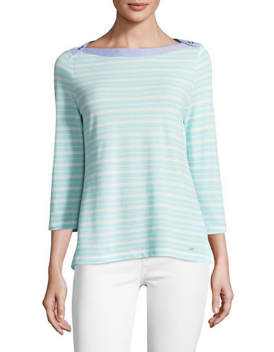 Tommy Hilfiger Boat Neck Striped Top-BLUE-Large