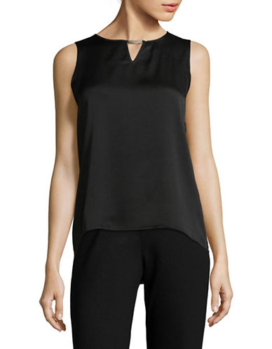 Calvin Klein Keyhole Sleeveless Top with Hardware-BLACK-Medium