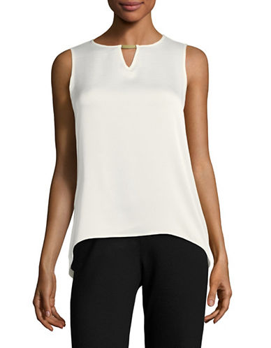 Calvin Klein Keyhole Sleeveless Top with Hardware-CREAM-Small