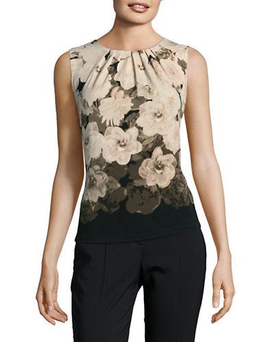 Calvin Klein Pleat Neck Tank Top-KHAKI MULTI-Large