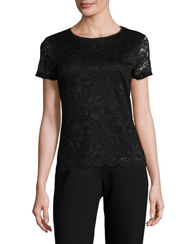 Calvin Klein Floral Lace T-Shirt-BLACK-Large