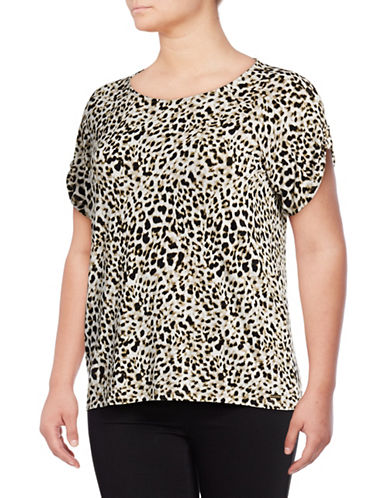 Calvin Klein Plus Printed Stretch T-Shirt-LEOPARD-0X