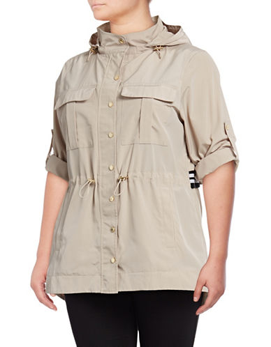 Calvin Klein Plus Snap-Front Jacket-LATTE-1X