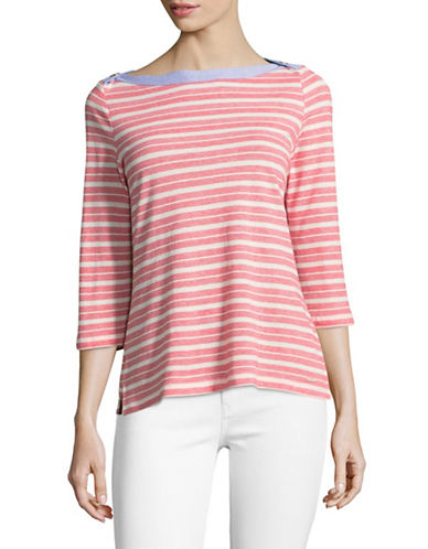 Tommy Hilfiger Boat Neck Striped Top-RED-X-Small