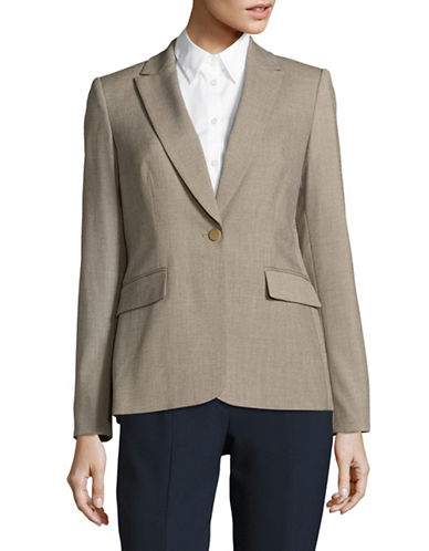 Calvin Klein One-Button Peak Lapel Blazer-KHAKI-12