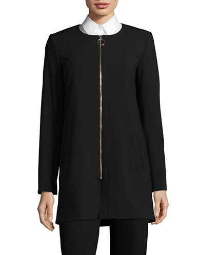 Calvin Klein Long Lux Zip Front Jacket-BLACK-14